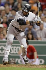 Robinson Cano is hit in the knee by a Josh Beckett fastball. Cano was forced to leave the game and is listed as day-to-day (Photo: AP).